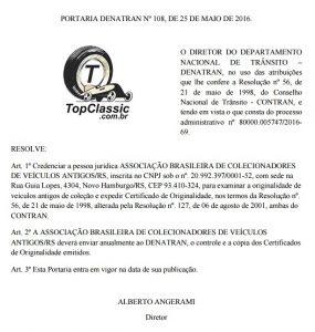 Credenciamento Portaria 108/2016 do DENATRAN